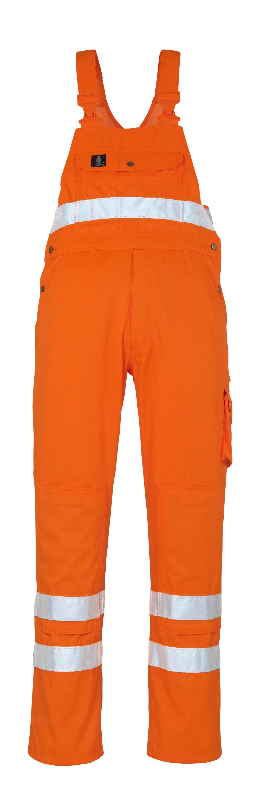 00469-860-14 Latzhose mit Knietaschen - hi-vis Orange