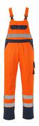 00969-860-141 Latzhose mit Knietaschen - hi-vis Orange/Marine