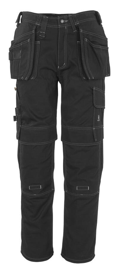 06131-630-09 Hose mit Knie- und Hängetaschen - Schwarz