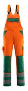 07169-860-1403 Latzhose mit Knietaschen - hi-vis Orange/Grün