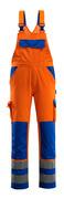 07169-860-1411 Latzhose mit Knietaschen - hi-vis Orange/Kornblau