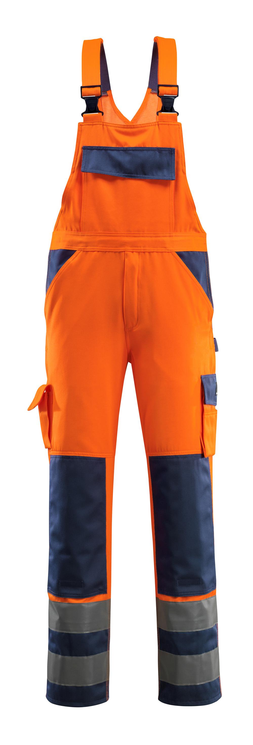 07169-860-141 Latzhose mit Knietaschen - hi-vis Orange/Marine