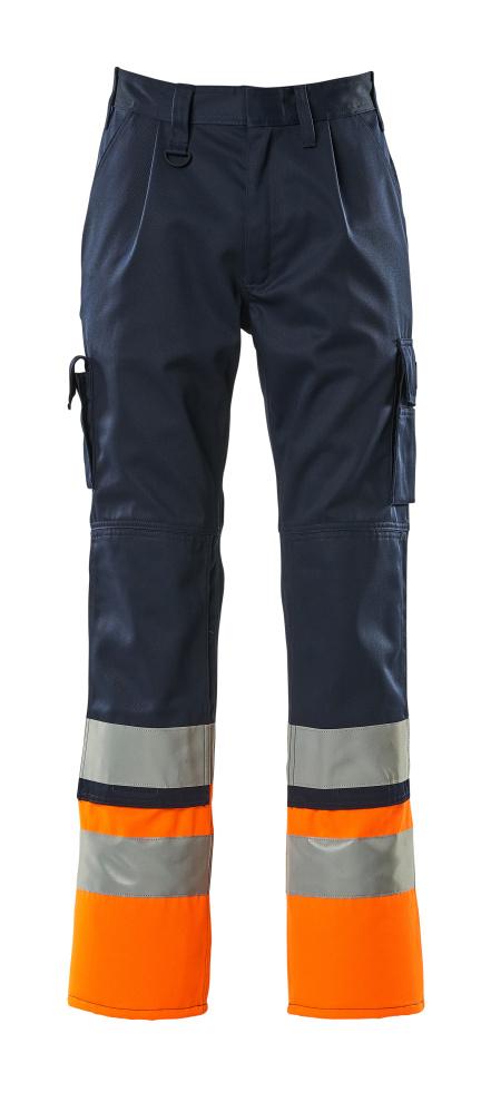 12379-430-0114 Hose mit Knietaschen - Marine/hi-vis Orange