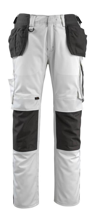14031-203-0618 Hose mit Knie- und Hängetaschen - Weiß/Dunkelanthrazit