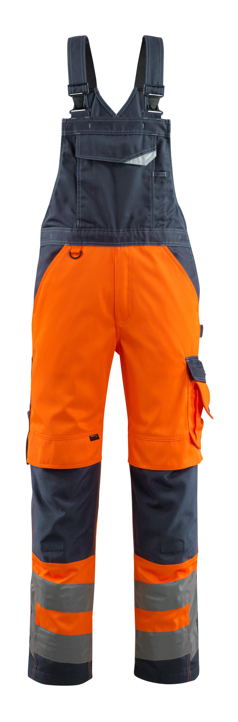 15569-860-14010 Latzhose mit Knietaschen - hi-vis Orange/Schwarzblau