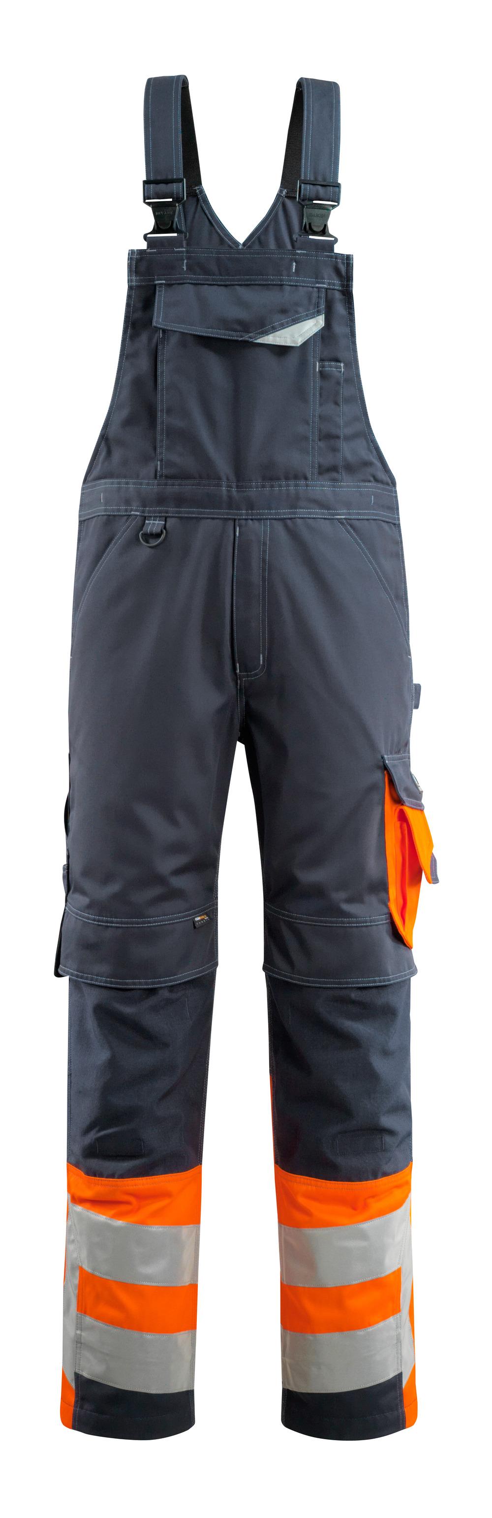 15669-860-01014 Latzhose mit Knietaschen - Schwarzblau/hi-vis Orange