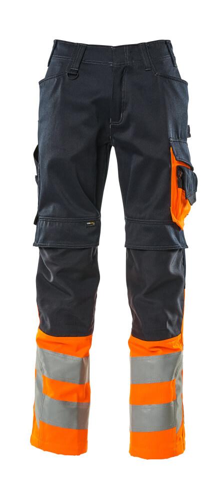 15679-860-01014 Hose mit Knietaschen - Schwarzblau/hi-vis Orange