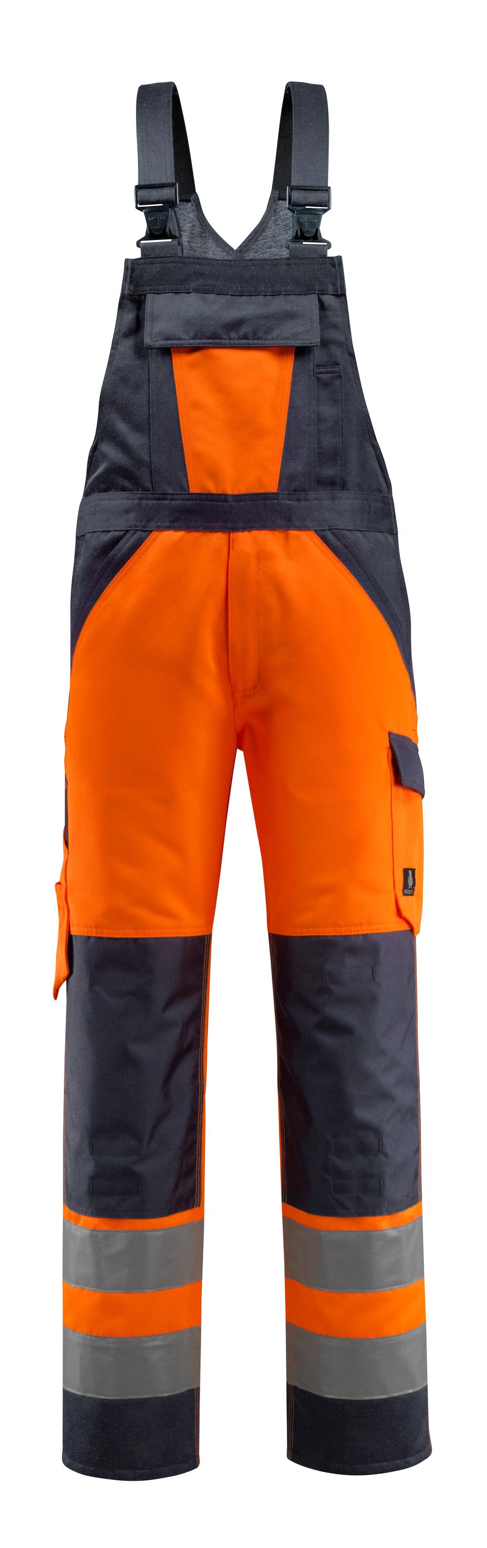 15969-948-14010 Latzhose mit Knietaschen - hi-vis Orange/Schwarzblau