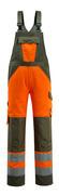 15969-948-1433 Latzhose mit Knietaschen - hi-vis Orange/Moosgrün