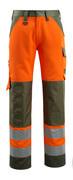 15979-948-1433 Hose mit Knietaschen - hi-vis Orange/Moosgrün