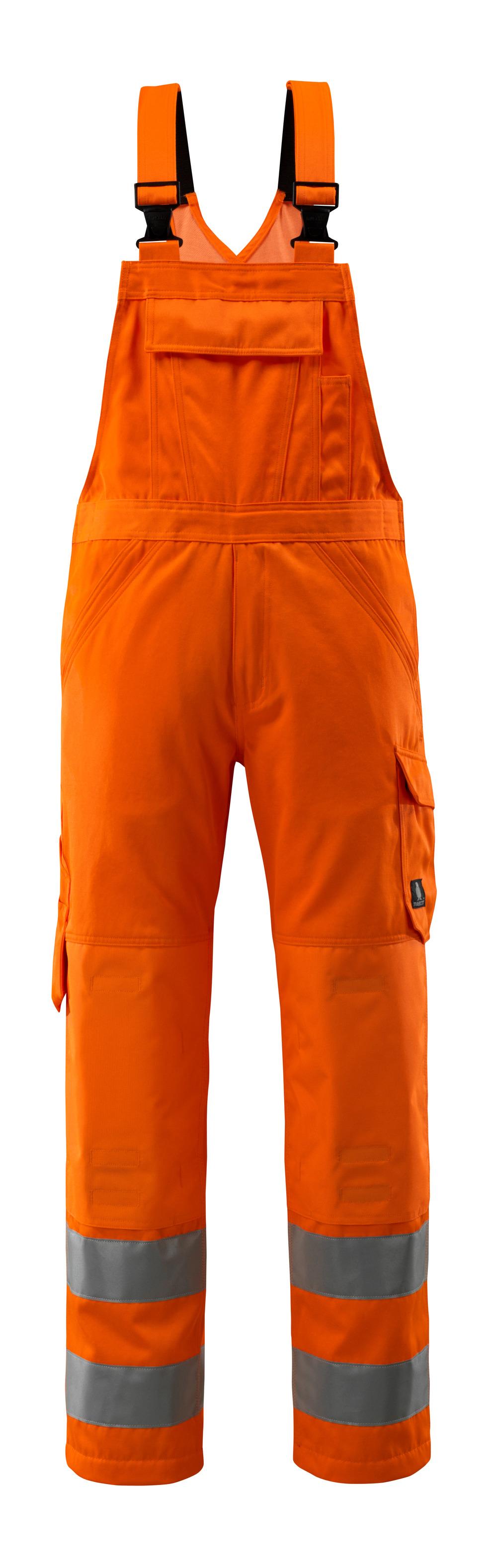 16869-860-14 Latzhose mit Knietaschen - hi-vis Orange