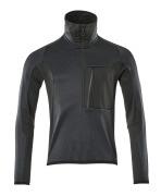 17003-316-01009 Fleecepullover mit kurzem Reißverschluss - Schwarzblau/Schwarz