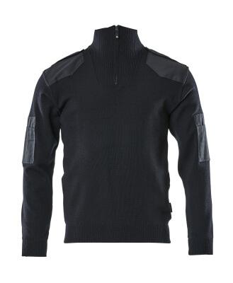 17205-939-010 Strickpullover mit kurzem Reißverschluss - Schwarzblau