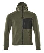 17384-319-3309 Kapuzensweatshirt mit Reißverschluss - Moosgrün/Schwarz