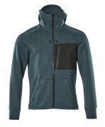 17384-319-4409 Kapuzensweatshirt mit Reißverschluss - Dunkelpetroleum/Schwarz