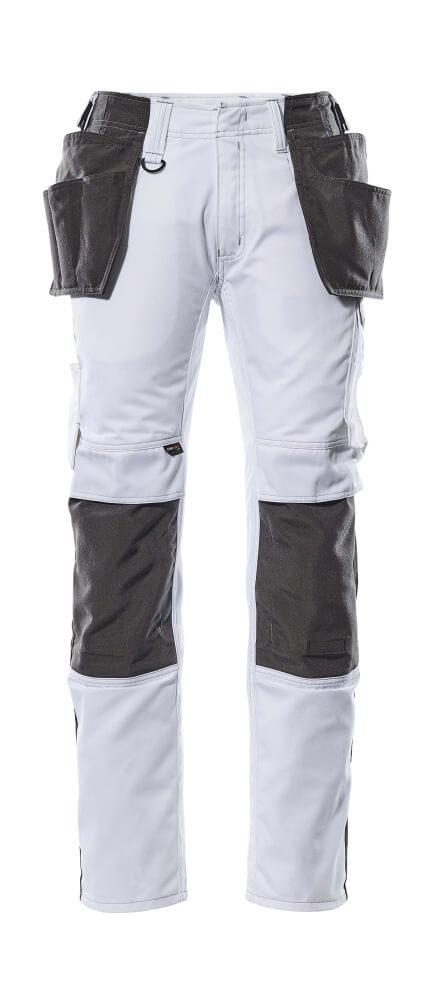 17631-442-0618 Hose mit Knie- und Hängetaschen - Weiß/Dunkelanthrazit