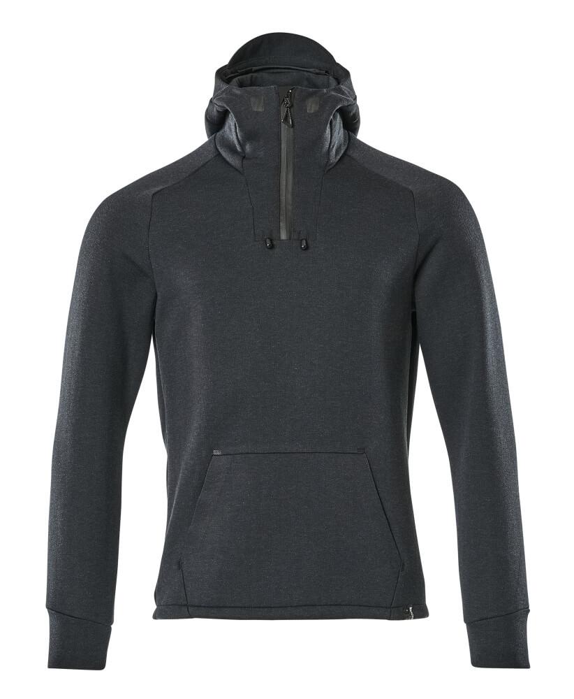 17684-319-01009 Kapuzensweatshirt mit kurzem Reißverschluss - Schwarzblau/Schwarz