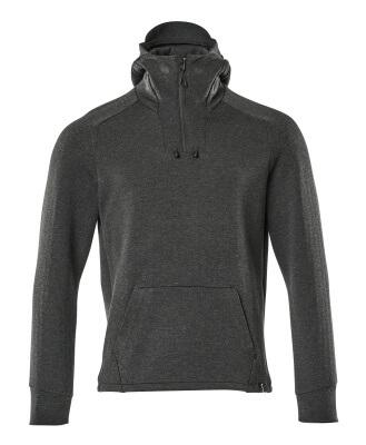 17684-319-09 Kapuzensweatshirt mit kurzem Reißverschluss - Schwarz
