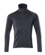 18003-316-010 Fleecepullover mit kurzem Reißverschluss - Schwarzblau