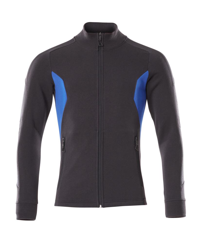 18484-962-01091 Sweatshirt mit Reißverschluss - Schwarzblau/Azurblau