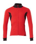 18484-962-20209 Sweatshirt mit Reißverschluss - Verkehrsrot/Schwarz