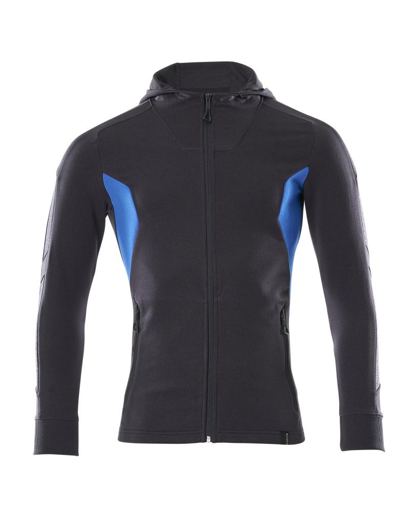 18584-962-01091 Kapuzensweatshirt mit Reißverschluss - Schwarzblau/Azurblau