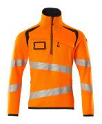 19005-351-14010 Strickpullover mit kurzem Reißverschluss - hi-vis Orange/Schwarzblau