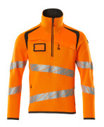 19005-351-1418 Strickpullover mit kurzem Reißverschluss - hi-vis Orange/Dunkelanthrazit