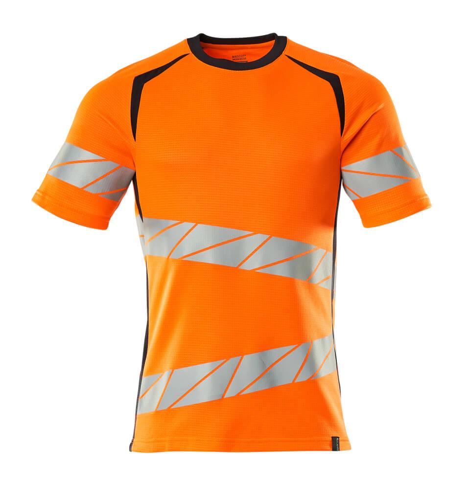 19082-771-14010 T-Shirt - hi-vis Orange/Schwarzblau