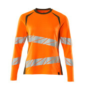 19091-771-1433 T-Shirt, Langarm - hi-vis Orange/Moosgrün
