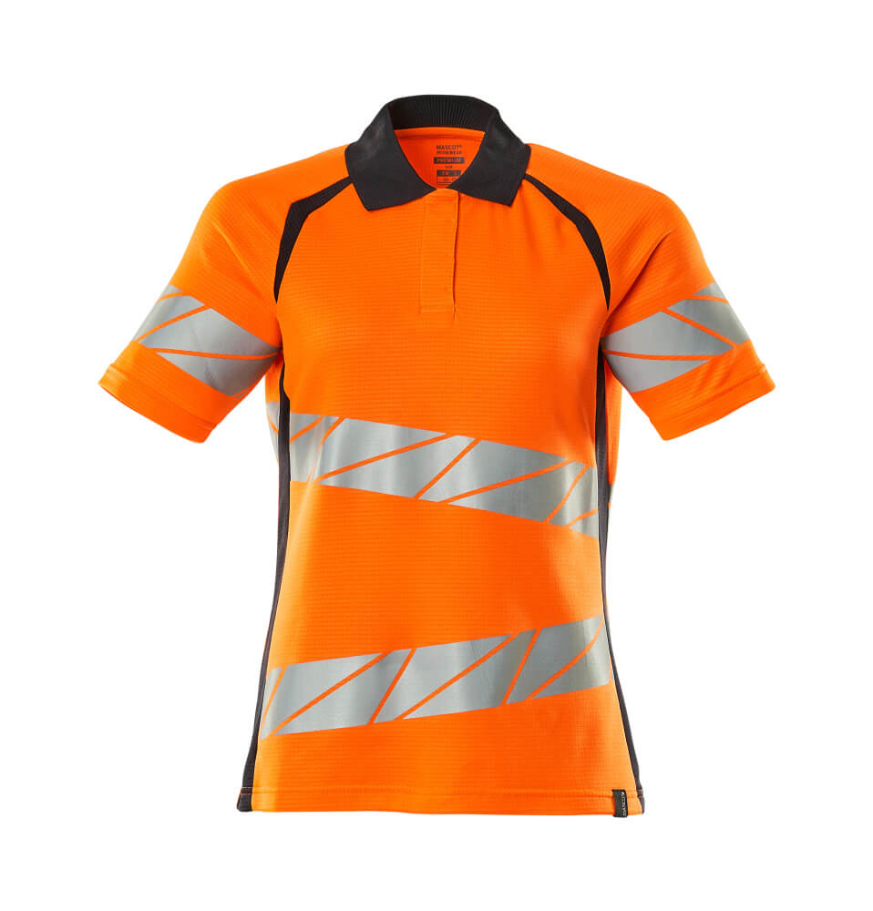 19093-771-14010 Polo-Shirt - hi-vis Orange/Schwarzblau