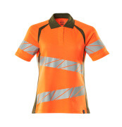 19093-771-1433 Polo-Shirt - hi-vis Orange/Moosgrün