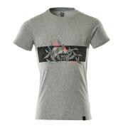 19182-965-08222 T-Shirt - Grau-meliert/hi-vis Rot