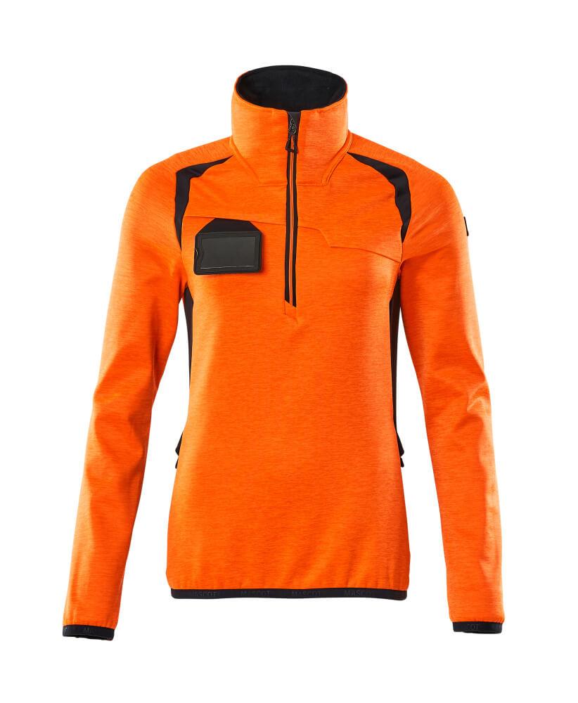 19353-316-14010 Fleecepullover mit kurzem Reißverschluss - hi-vis Orange/Schwarzblau