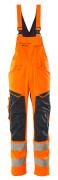 19569-236-14010 Latzhose mit Knietaschen - hi-vis Orange/Schwarzblau