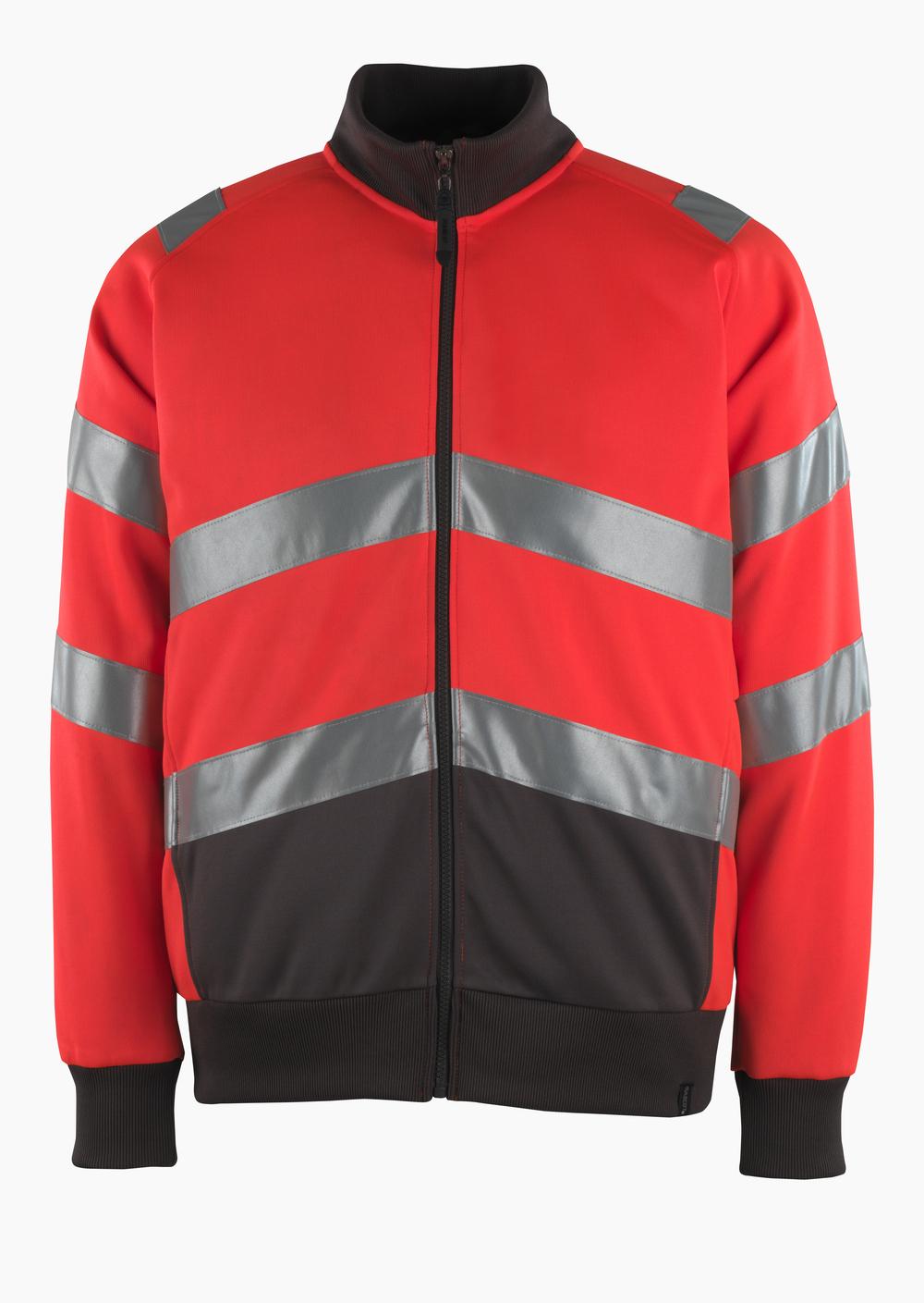 50116-950-A49 Sweatshirt mit Reißverschluss - hi-vis Rot/Dunkelanthrazit
