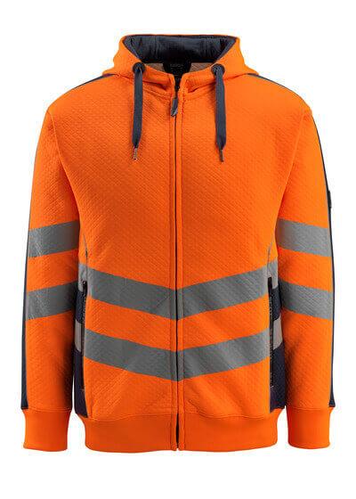 50138-932-14010 Kapuzensweatshirt mit Reißverschluss - hi-vis Orange/Schwarzblau