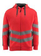 50138-932-22218 Kapuzensweatshirt mit Reißverschluss - hi-vis Rot/Dunkelanthrazit
