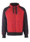 50566-963-0209 Kapuzensweatshirt mit Reißverschluss - Rot/Schwarz