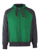 50566-963-0309 Kapuzensweatshirt mit Reißverschluss - Grün/Schwarz