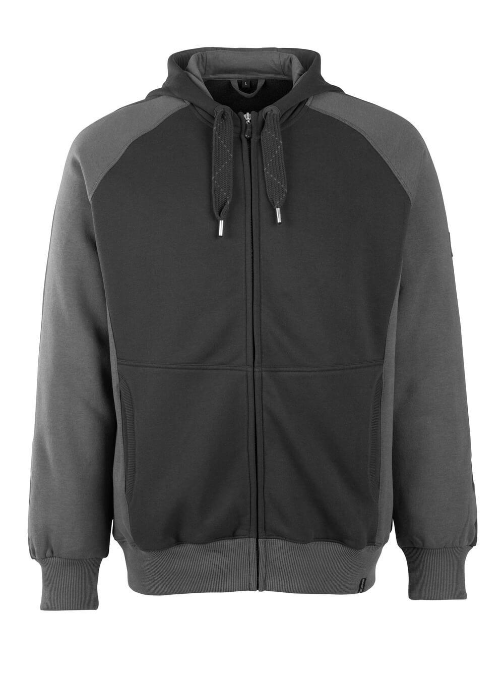 50566-963-0918 Kapuzensweatshirt mit Reißverschluss - Schwarz/Dunkelanthrazit